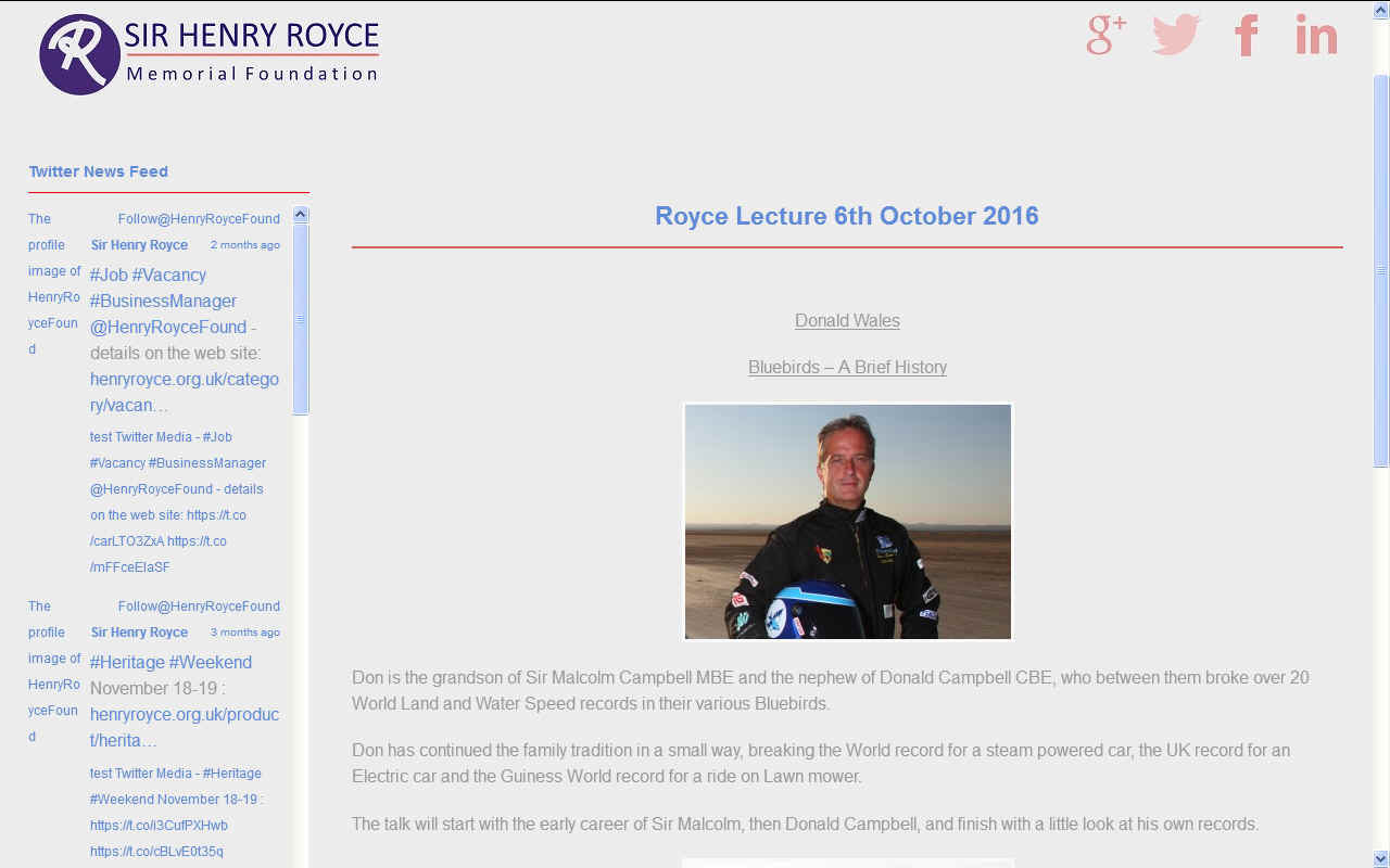 The Sir Henry Royce Memorial Foundation talk Don Wales