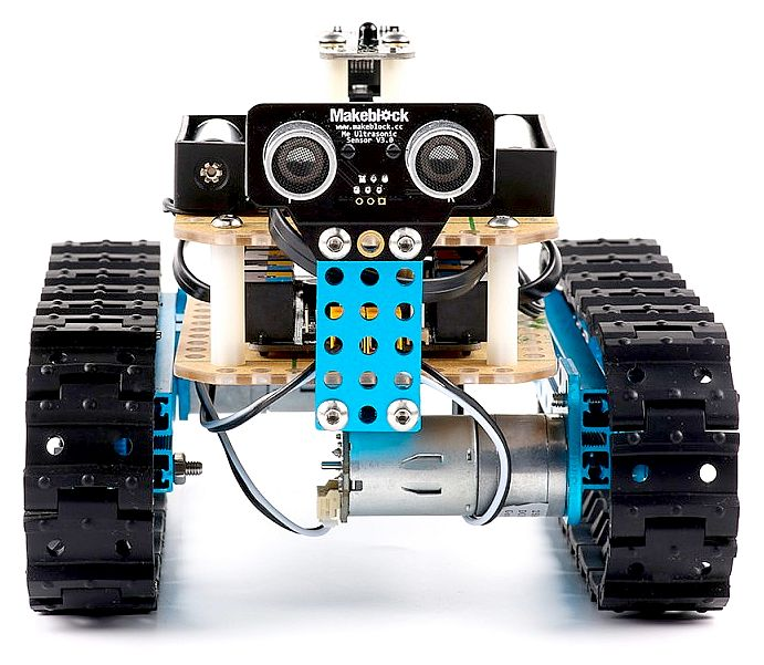 Makeblock robotic tank vehicle with arduino motor control and sensors