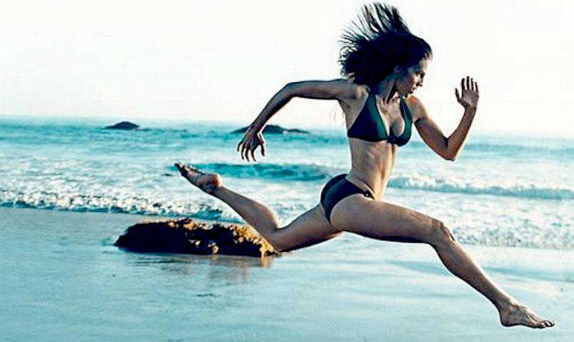 A woman running at high speed, sport training