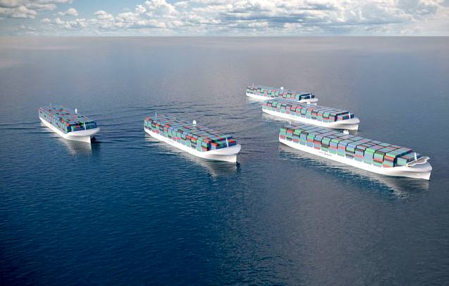 Rolls Royce autonomous container ships in convoy