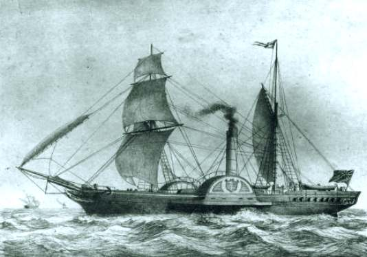 SS Sirius from 1837, crossed the Atlantic in 1837 at 8 knots.