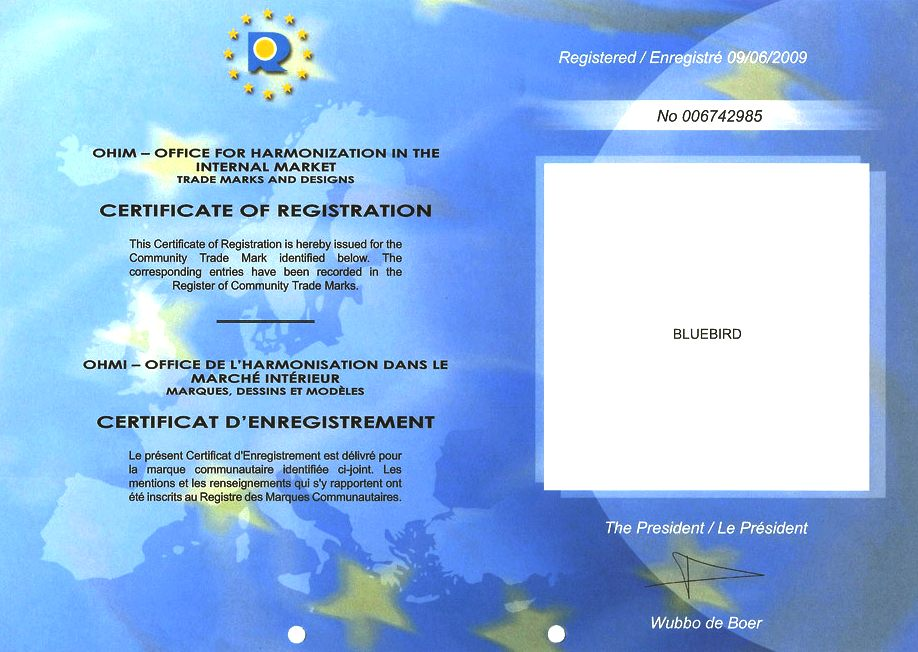 Office for Harmonization certificate number 006742985