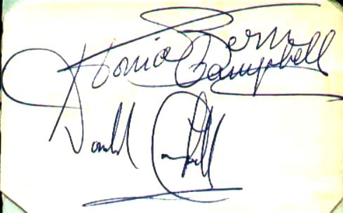 Autographs of Tonia Bern-Campbell and Donald Campbell CBE