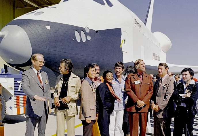The space shuttle Enterprise with the crew of the USS Enterprise, Star Trek