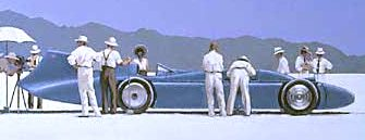 Bluebird merlin engines land speed record car at Bonneville