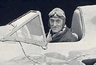 Captain Malcolm Campbell in the cockpit of Bluebird