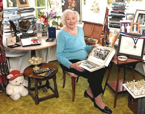 Dame Vera at home in her 'painting' room, Ditchling, Sussex