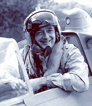 Donald Campbell in the K7 with famous helmet