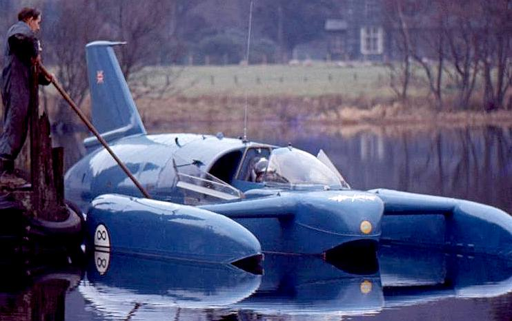 Donald Campbell in his K7 jet engine powered Bluebird hydroplane boat
