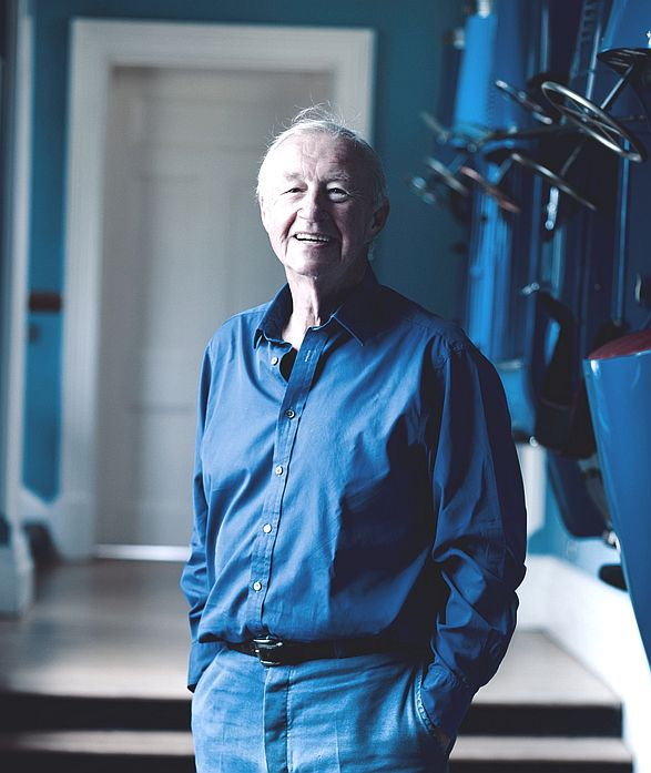 Sir Terence Conran - a study in blue.