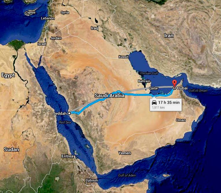 Arabia jeddah to dubai zero carbon smart cities networked energy suggested google route map for the arabian cannonball desert run gumiabroncs Gallery