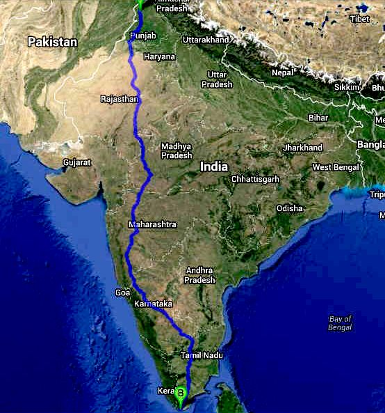 Trans India international Cannonball EV run route map