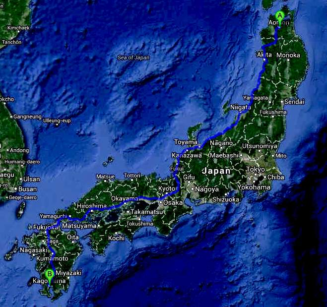 Trans Japan international Cannonball EV route map