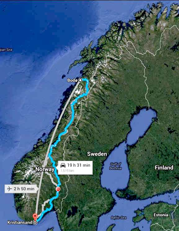 NORWAY BODO to KRISTIANSAND VIA OSLO SMART ENERGY INFRASTRUCTURE
