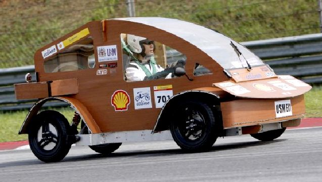 Asian wooden car competes in the Shell sponsored Eco Marathon