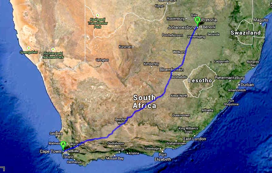 south africa map johannesburg cape town