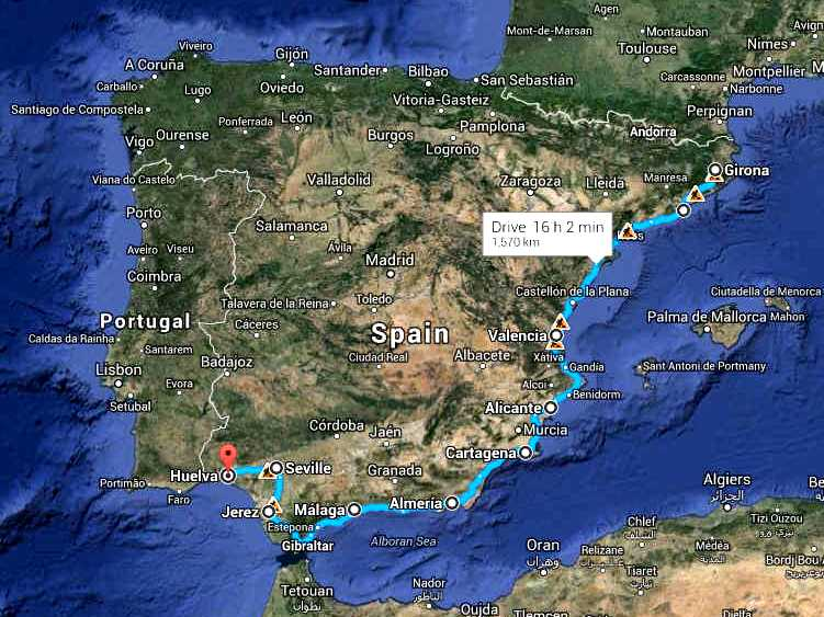 Map Of Spain Coast.Spanish Main Girona To Huelva Official Cannonball Zev Run World Series