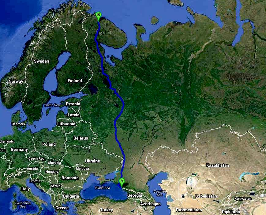 Trans-Russia International Cannonball ZEV Series, official route map