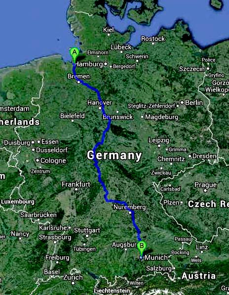 TRANS GERMANY BREMERHAVEN TO MUNICH OFFICIAL CANNONBALL ZEV