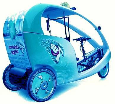 Solar powered Bluebird electric rickshaw