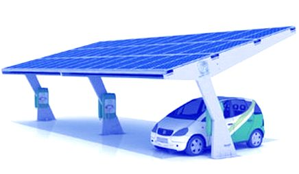 Eco solar charging at green car parks