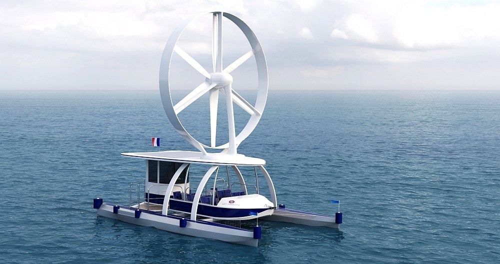The Archinaute is a rotary sail or wind turbine powered catamaran