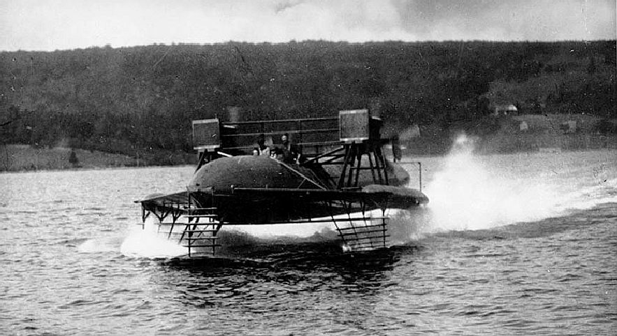 Alexander Graham Bell's HD-4 hydrofoil on a test run in1919