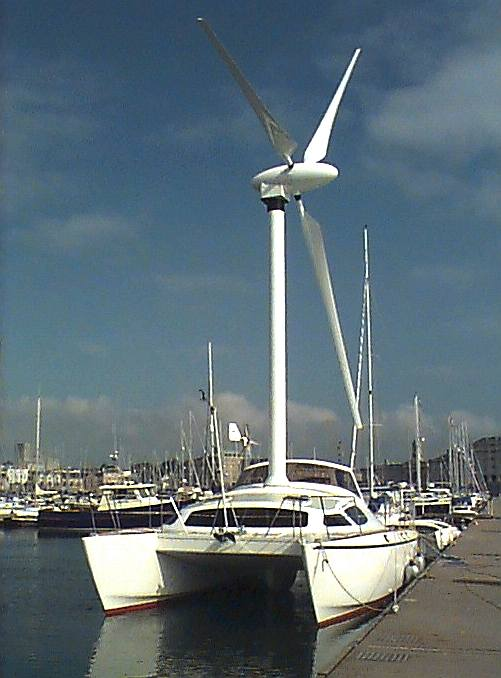 ROTARY WIND POWER: A daring conversion; wind turbine powered catamaran ...