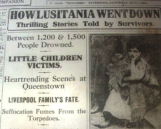 1915 newspaper report on the Sinking of the Lusitania
