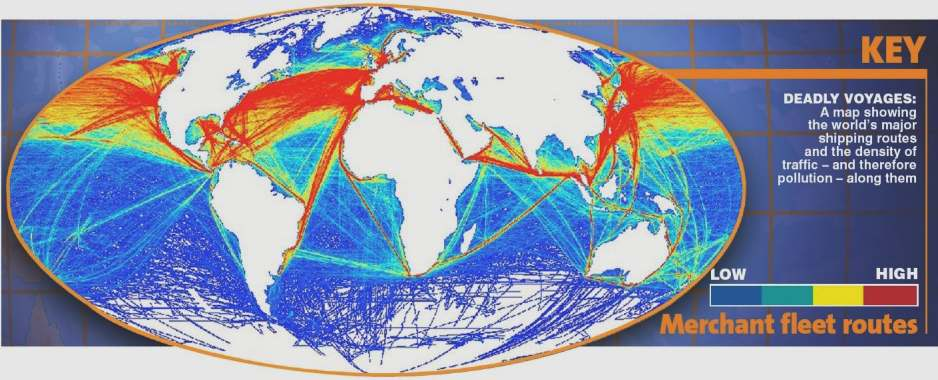 Map showing pollution density based on ship traffic
