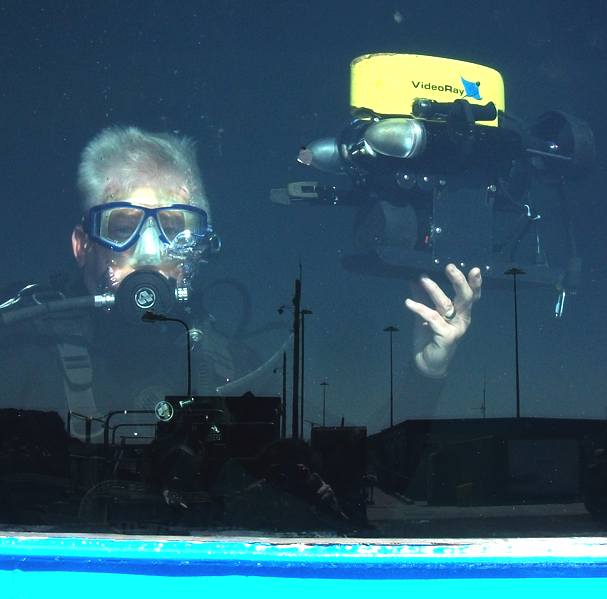Diver in a water testing tank
