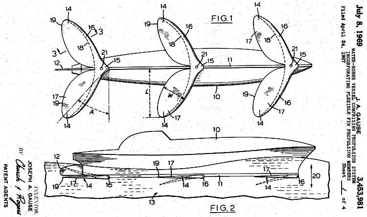 US Patent drawings J A Gause 1969, No: 3,453,981