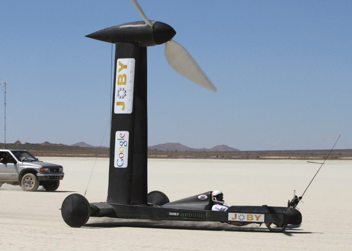 The Blackbird wind powered land racer sponsored by Google