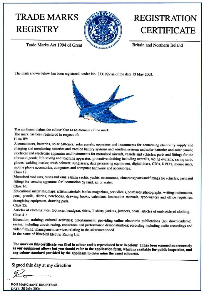 Blue bird in flight trade mark for road cars and parts, electric motors, batteries, battery cartridge exchange and clothing