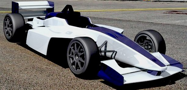 A typical Formula E open wheell racing car, before design modification