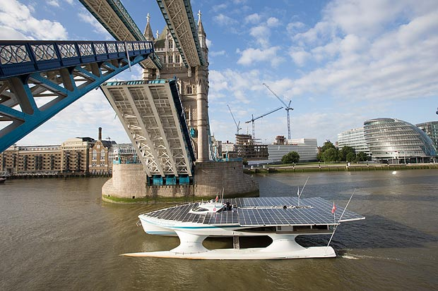 World's largest solar boat , River Thames and Tower Bridge