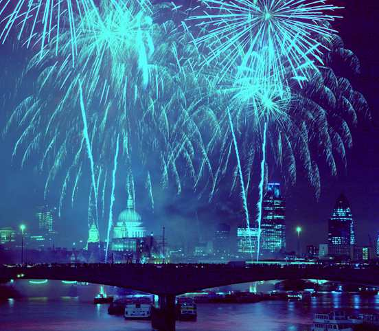 London, England, New Year fireworks celebrations event