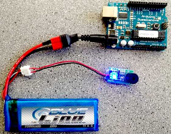 Lithium batttery pack powering an Arduino