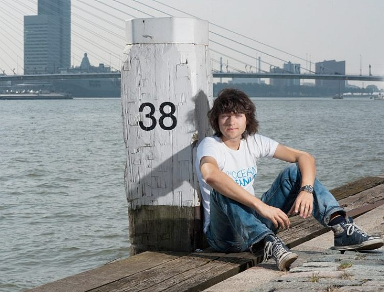 Boyan Slat on the docks at Rotterdam