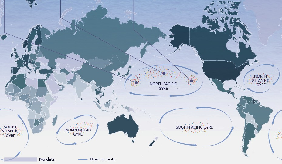World map showing the five great ocean garbage patches