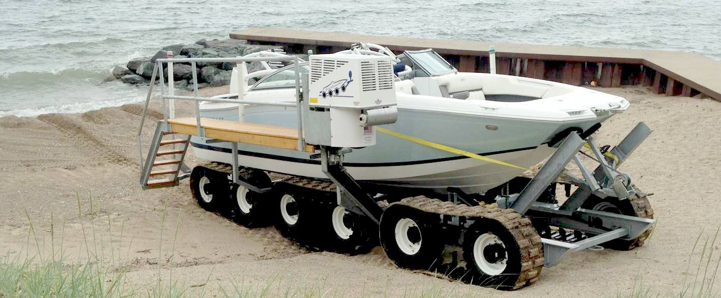 AMPHIBIOUS BOAT LAUNCHING SYSTEM MOTORISED REMOTELY CONTROLLED TRAILER BOAT BEACH RECOVERY ...