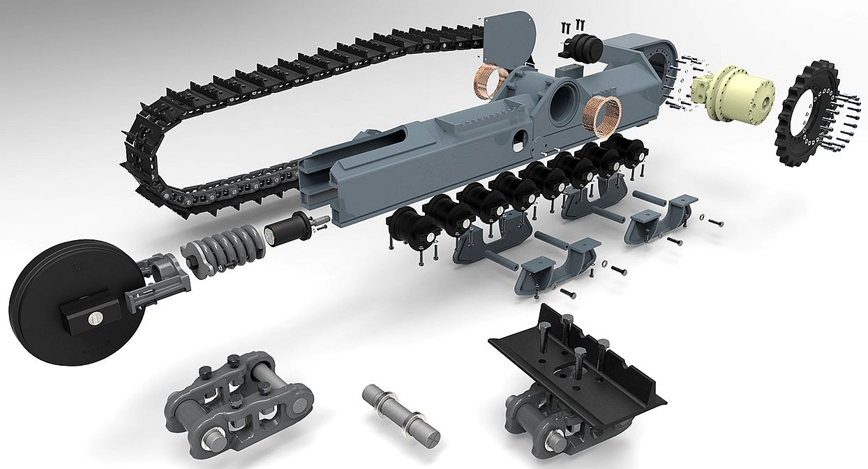 Wheels v tracks a really useful exploded diagram of the parts for one side of a quality dual track undercarriage two tracks are needed for stability and