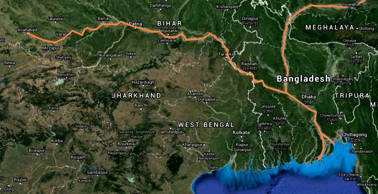 NAVIGABLE WATERWAYS   The Map Above Is A Crude Indication Of The Most  Navigable Parts Of The Rivers Feeding Into The Bay Of Bengal.