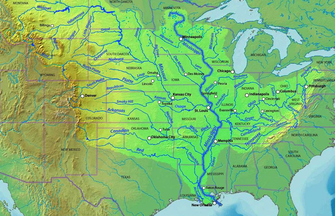 THE MISSISSIPPI RIVER - Map of the us mississippi river