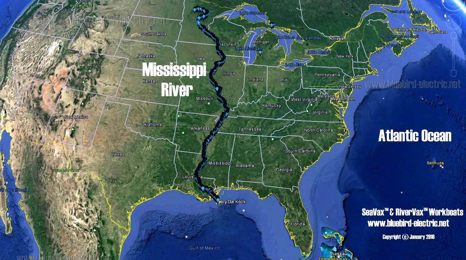 THE MISSISSIPPI RIVER - Mississippi river on a map of the us
