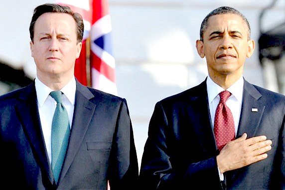 David Cameron and Barak Obama manage to look serious by biting their lips