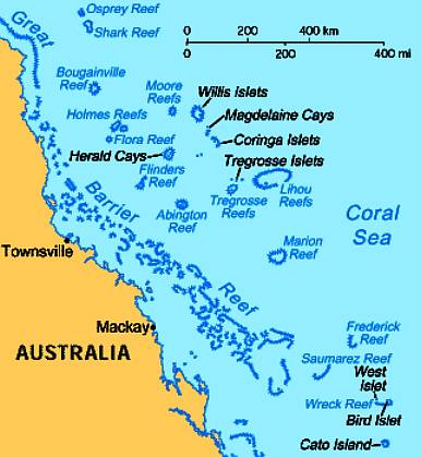 sea bounded by the solomon islands and the east cost of australia left and the great barrier reef right running along the australian east coast