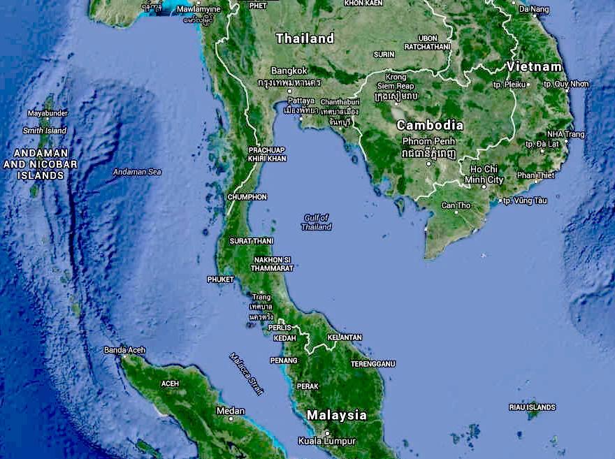 GULF OF THAILAND SIAM - World map oceans seas gulfs