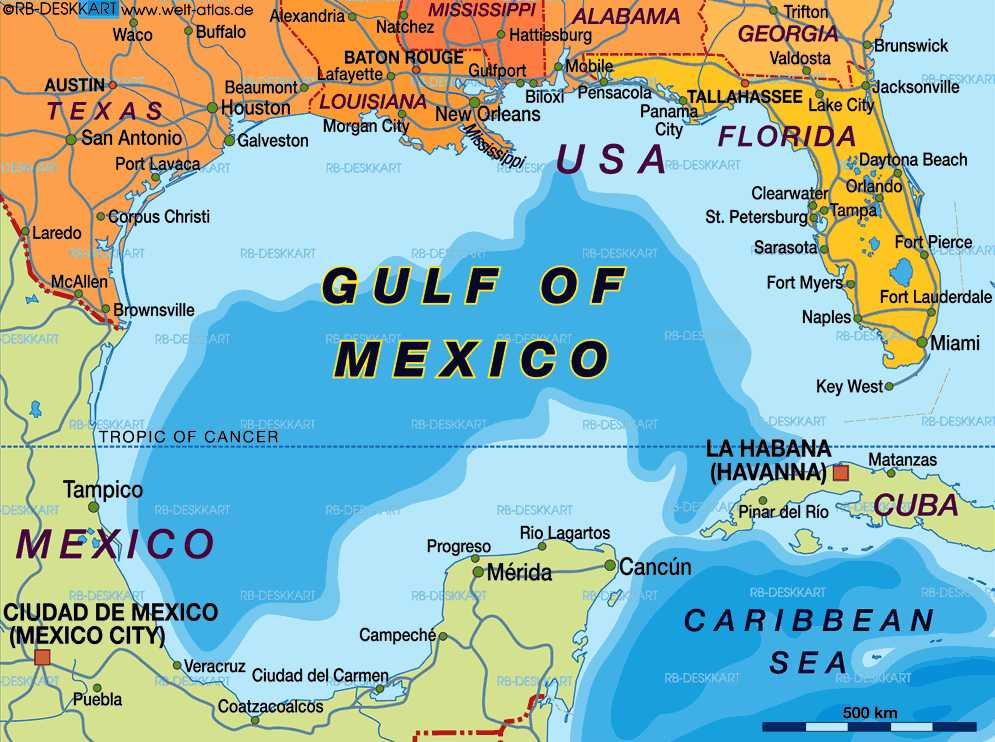 THE GULF OF MEXICO - Mexico and usa map