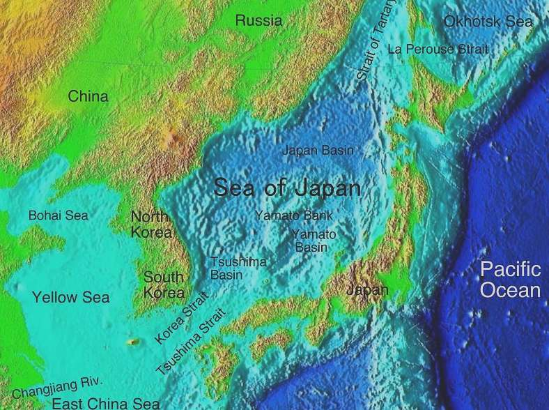 SEA OF JAPAN - Japan map bodies of water